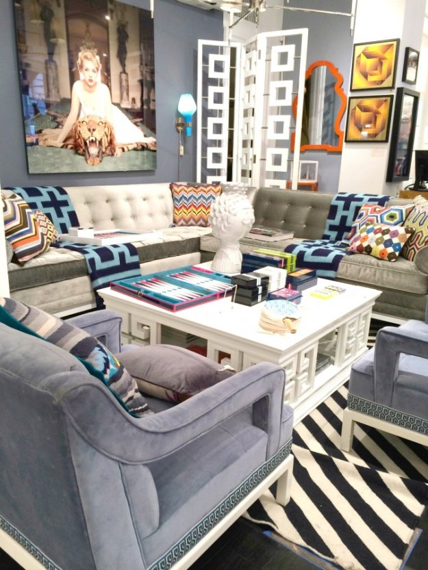GORGEOUS BLUE GRAY WALLS AND JONATHAN ADLER LIVING ROOM!