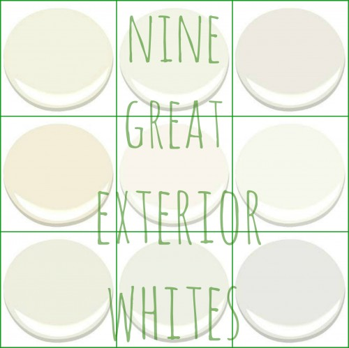 NONE GREAT BENJAMIN MOORE EXTERIOR WHITES - ACADIA WHITE, CLOUD WHITE, GLACIER WHITE, LINEN WHITE, MOUNTAIN PEAK WHITE, SIMPLY WHITE, SWISS COFFEE, WHITE DOVE, AND WHITE WISP