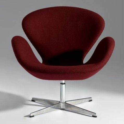 "BURGUNDY ARNE JACOBSEN STYLE ""SWAN CHAIR"""