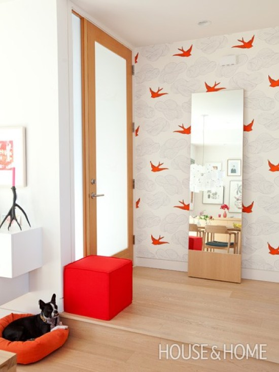 HOUSE AND HOME MAGAZINE ENTRYWAY JULIA ROTHMAN DAYDREAM ORANGE
