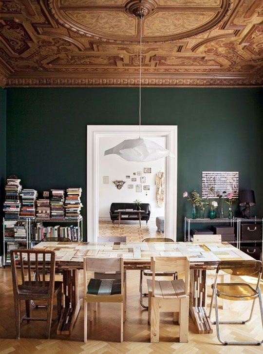 APARTMENT THERAPY - BENJAMIN MOORE LAFAYETTE GREEN DINING ROOM