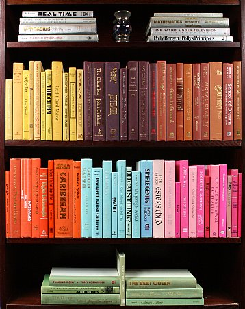 BOOKS BY THE FOOT CAN BE GROUPED BY THEME AND COLOR!