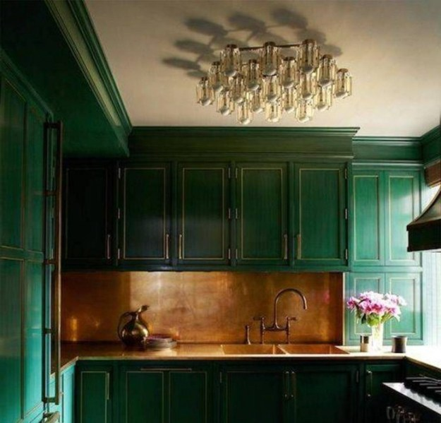 beautiful-flush-mount-chandelier/kitchen-with-forest-green-cabinets-and-bronze-backsplash-and-flush-mount-chandelier/