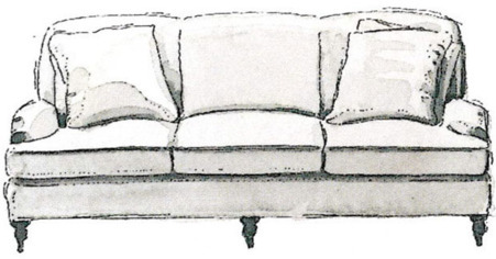 ENGLISH ARM THREE SEATER Rumpled, yet aristocratic, this British country-house staple has soft, deep cushions and low arms that make it ideal for TV watching.