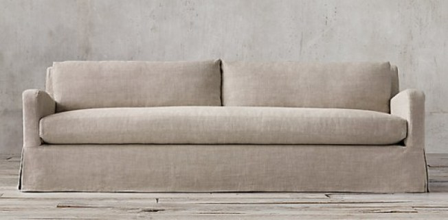 RESTORATION HARDWARE - BELGIAN LINEN SLOPE ARM SOFA - SINGLE CUSHION, SKIRTED AND SLIPCOVERED!