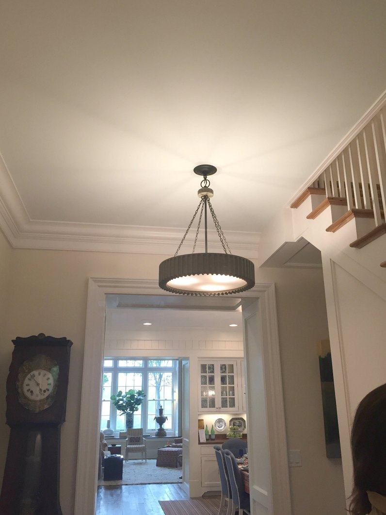 """SHOWHOUSE ENTRYWAY PAINTED SHERWINN WILLIAMS """"STEAMED MILK"""" - THE DOORWAY TO THE RIGHT LEADS TO THE MASTER BEDROOM WING..."""