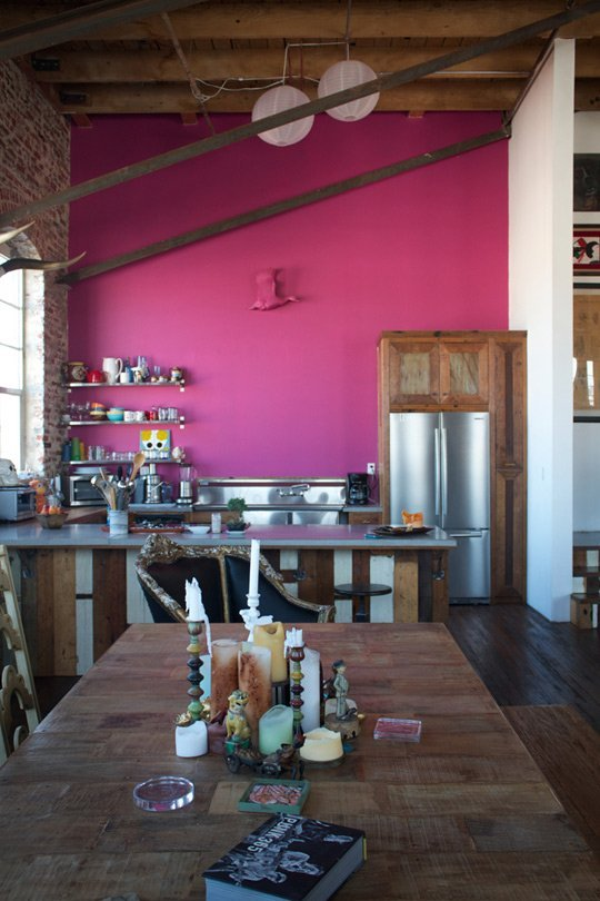 - Antonio Ballatore's Hot Pink Kitchen WallBethany Nauert