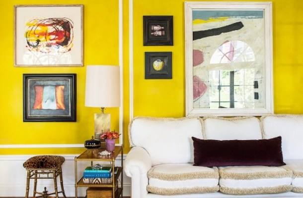 HAPPY BRIGHT YELLOW LIVING ROOM OF KIM BACHMAN ON ONE KINGS LANE