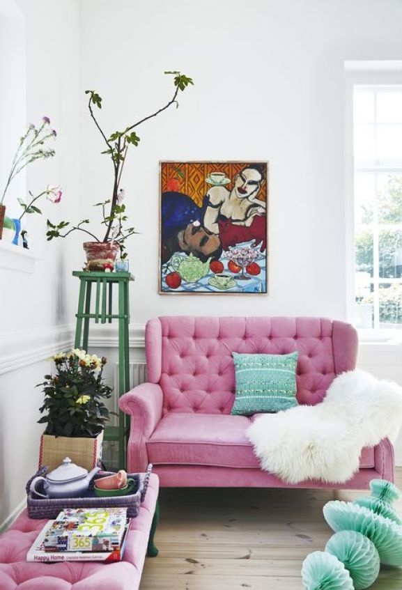 RICE BY RICE PINK LOVESEAT