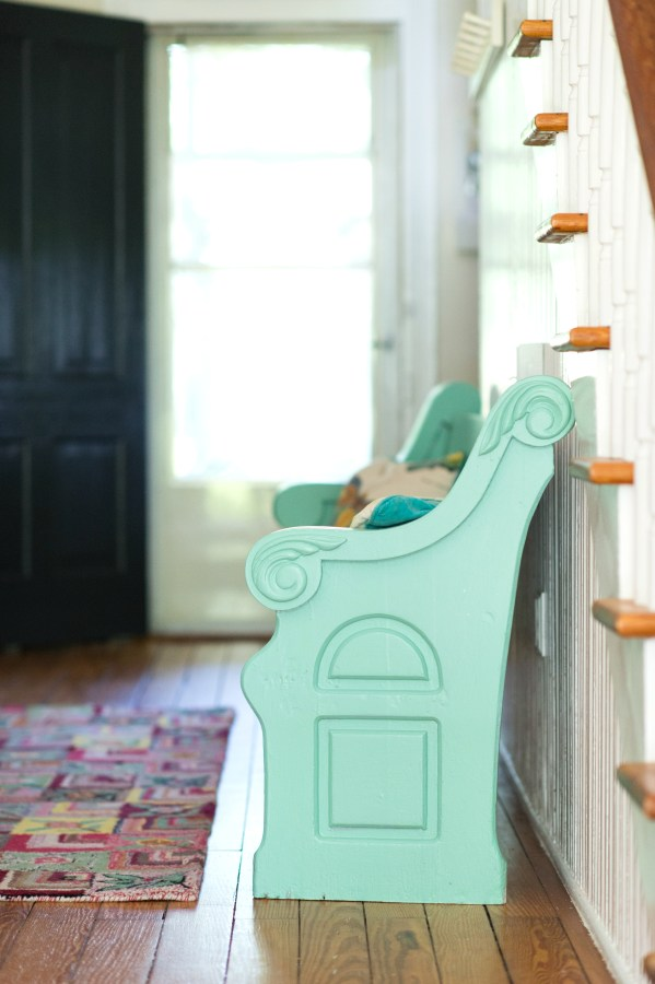 ENTRYWAY PEW PAINTED MARTHA STEWART DUCK EGG