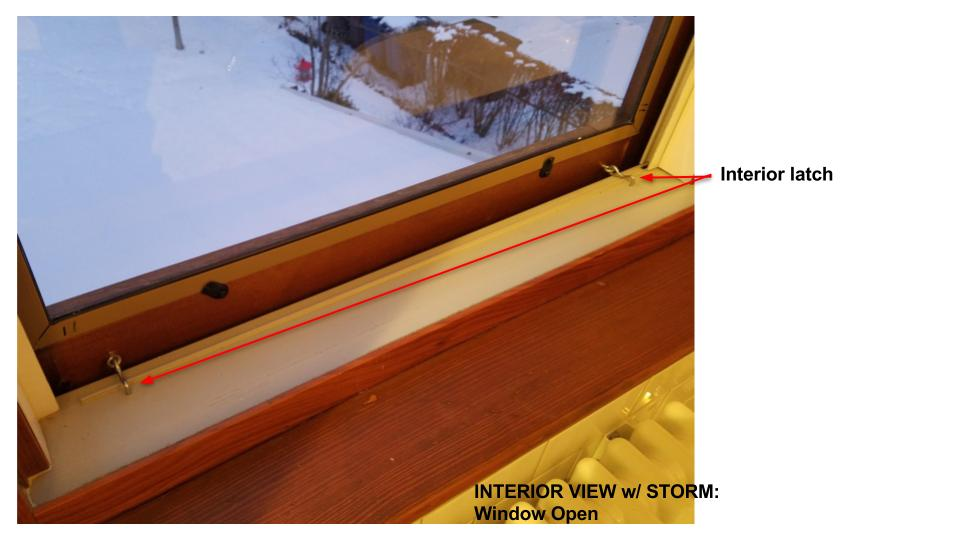 Wood Storm Window Eye and Loop Hooks Interior Latch