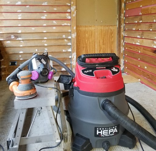 Sanding with HEPA Vacuum