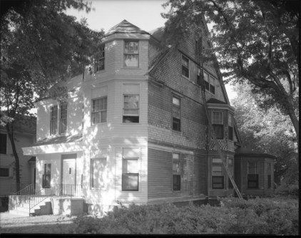 Historic photo of a real big girl at 1021 Park Avenue. Creator: Bostwick, Louis (1868-1943) and Frohardt, Homer (1885-1972). Publisher: The Durham Museum. Date: 1952. No longer extant.