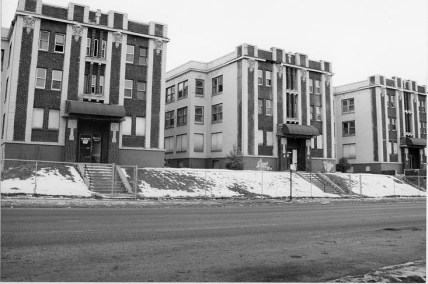 Historic photo of 836, 840 and 842 Park Avenue, the Terrace Court Apartments. Built in 1920s Sulivanesque.