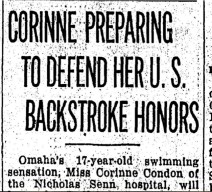 February 1928. OWH archive. Miss Corinne to defend her title.