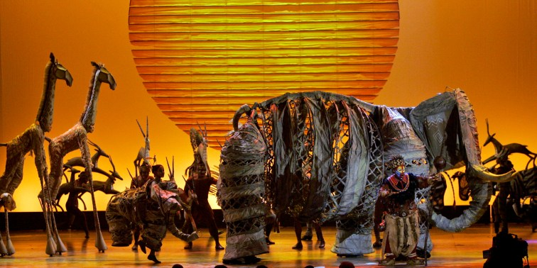 """The cast of the musical """"The Lion King"""" performs at the 62nd Annual Tony Awards in New York, Sunday, June 15, 2008. (AP Photo/Jeff Christensen)"""