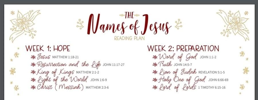 The Names of Jesus - Bible Reading Plan