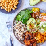 Healthy vegan buddha lunch bowl with protein
