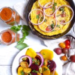 EARTHY SALAD SERVED WITH HEALTHY FRITTATA