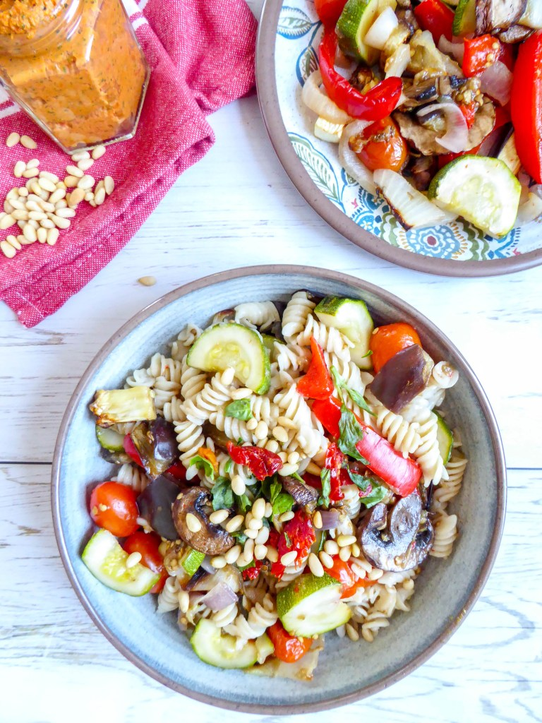 Simple Vegetables Pasta - Healthy, vegan and gluten-free dish, seasoned with Mediterranean herbs