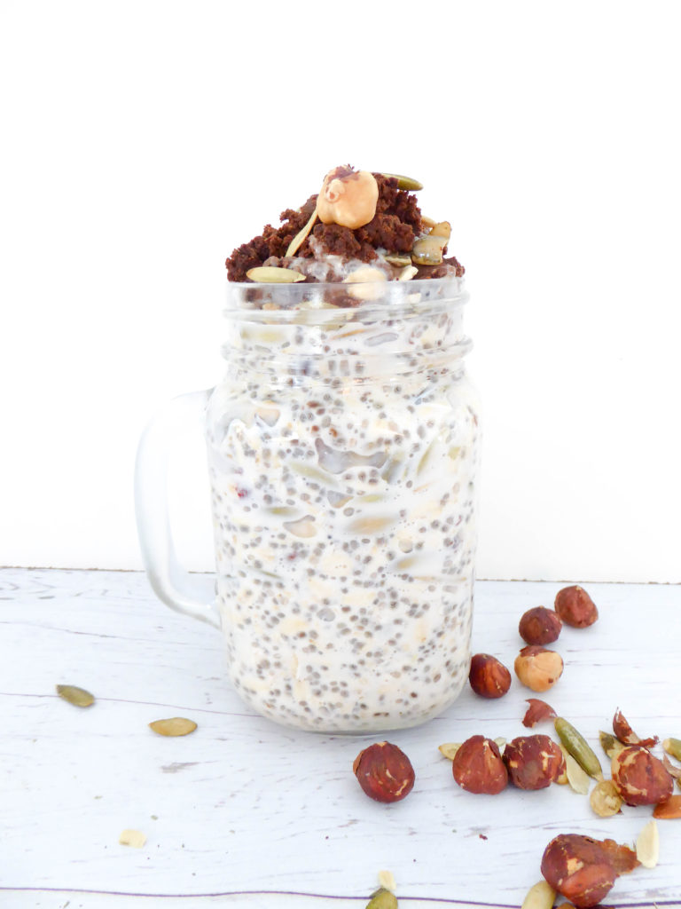 Nutella Overnight Oats - healthy gluten-free vegan breakfast topped with homemade Nutella