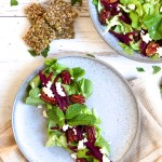 Earthy Beet Salad - Delicious vegan and gluten-free dish served with Kite Hill dairy-free ricotta