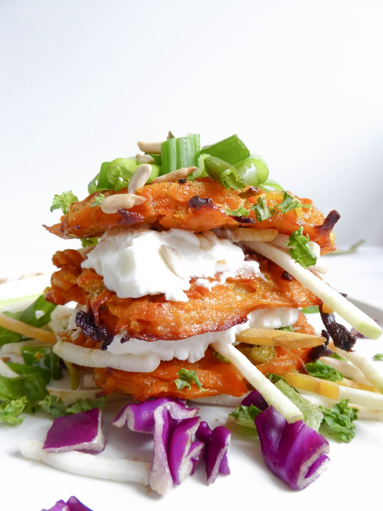 Sweet Potato Latke Sandwich - Oven baked alternative to the regular fried latke.