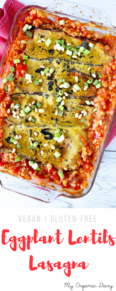 Eggplant lentils lasagna - Delicious vegan and gluten-free regular lasagna alternative.