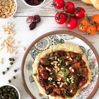 EGGPLANT OLIVE DIP CAPONATA - Healthy version of the Sicilian salad. Vegan and gluten-free