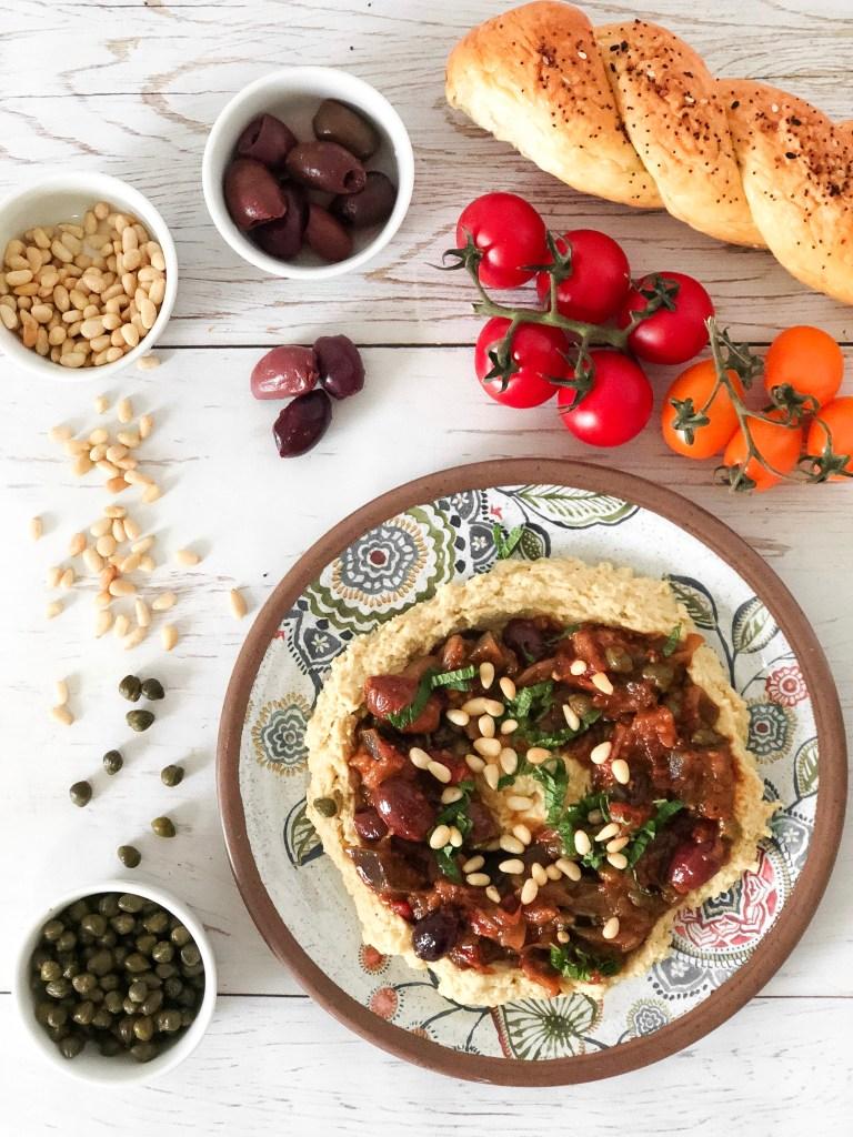 EGGPLANT OLIVE DIP CAPONATA - Healthy version of the Sicilian salad. Vegan and gluten-free