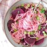 Pink Beet Onion Pasta - healthy vegan and gluten-free alternative