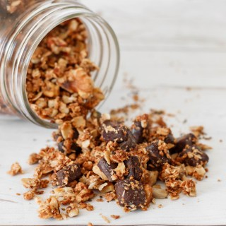 Tahini chocolate granola - easy versatile granola rich in superfood . Slightly salted and with a delicious tahini aftertaste.