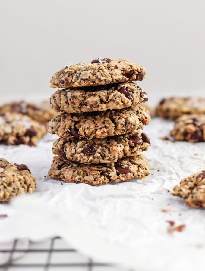 Healthy vegan, gluten-free superfoods cookie recipe loaded in nuts and seeds