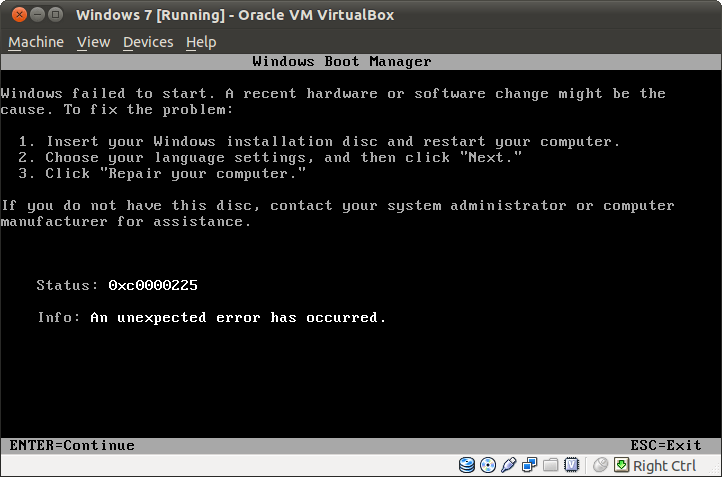 Install Windows 7 on VirtualBox - Status: error 0xc0000225