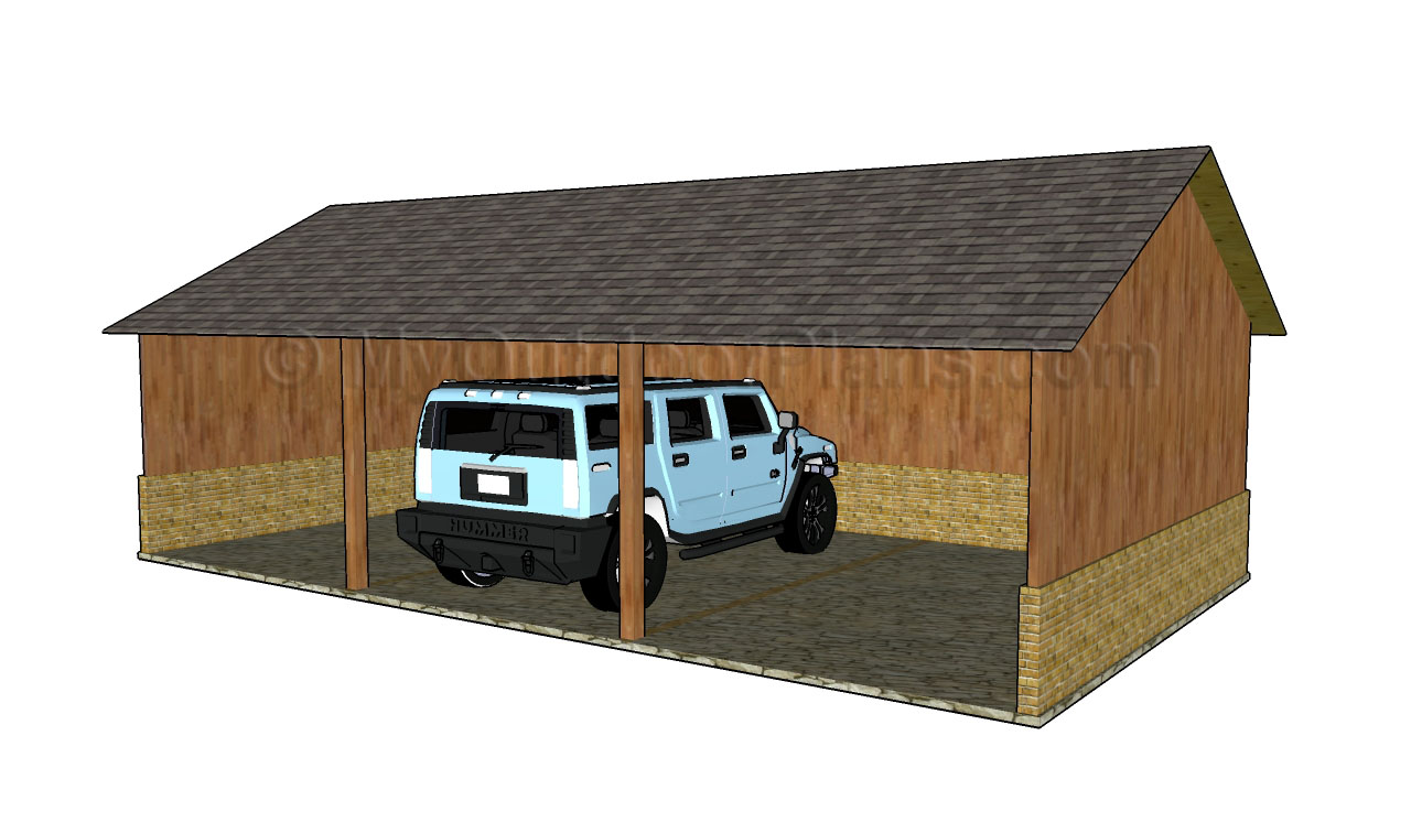Build diy my outdoor plans carport plans wooden monitor for Double carport plans