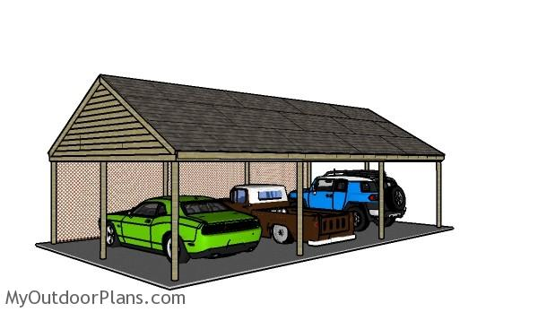 3 Car Carport Plans Myoutdoorplans Free Woodworking Plans And