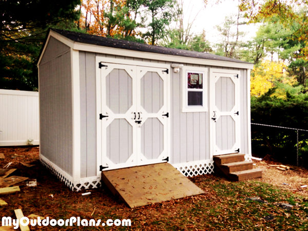 Diy Backyard Storage Shed With Ramp And Steps