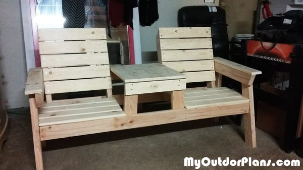 DIY Double Chair Bench With Table Plans MyOutdoorPlans Free Woodworking Plans And Projects