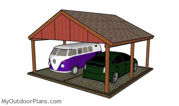 2 Car Gable Carport Plans Myoutdoorplans Free