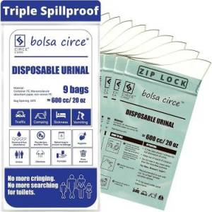 Bolsa Circe Disposable Urine Bags - Resealable Bags for Emergency Urinal & Vomit for Car Sickness