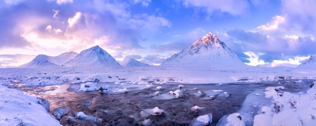 Glencoe, Scotland, winter panorama.