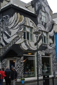 One of the many street art buildings in Reykjavik