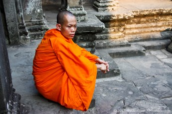A lone Monk at Angkor Wat,
