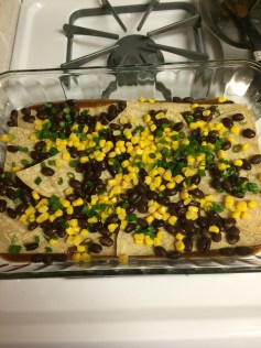 Black beans, corn and the chopped green onions...