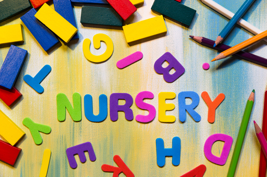 colorful letters, word nursery