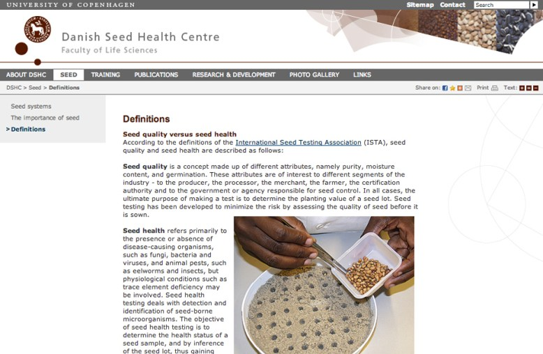 "HJEMMESIDER – Siden 'Seed'/'Definitions' fra hjemmesiden ""Danish Seed Health Centre""/ The webpage 'Seed/'Definitions' from the website ""Danish Seed Health Centre"" – hjemmesider"