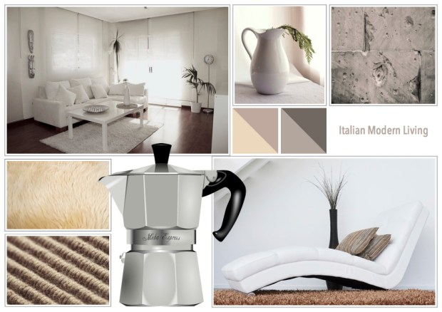 "Mood board – Bolig: ""Italian Modern Living"""