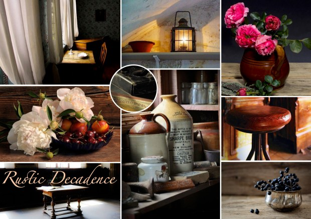 "Mood board – Bolig: ""Rustic Decadence"""