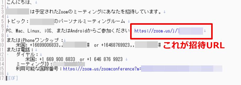 Zoom 招待URL