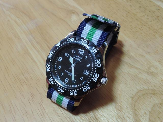 MARINO Capitano腕時計(カジュアルダイバーズ)レビュー~ダイソーのナイロンベルトでお手軽用途にカスタマイズ